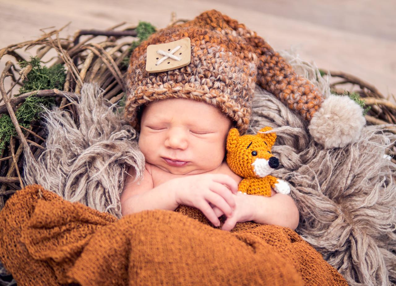 Babyfotograf Dresden Baby mit Fuchs